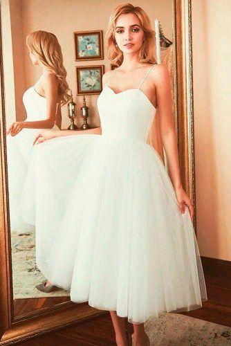 Simple Spaghetti Straps Wedding Dress #cuteweddingdress #simpleweddingdress
