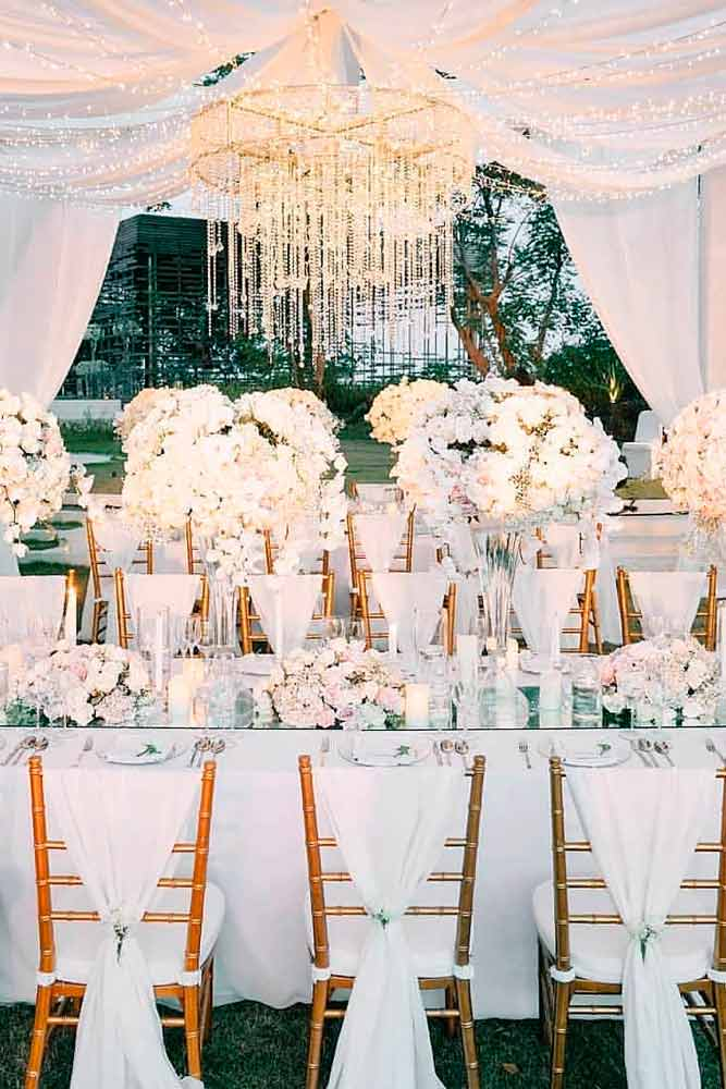 White Chair Covers For Complete Harmony #chaircover #weddingdecor