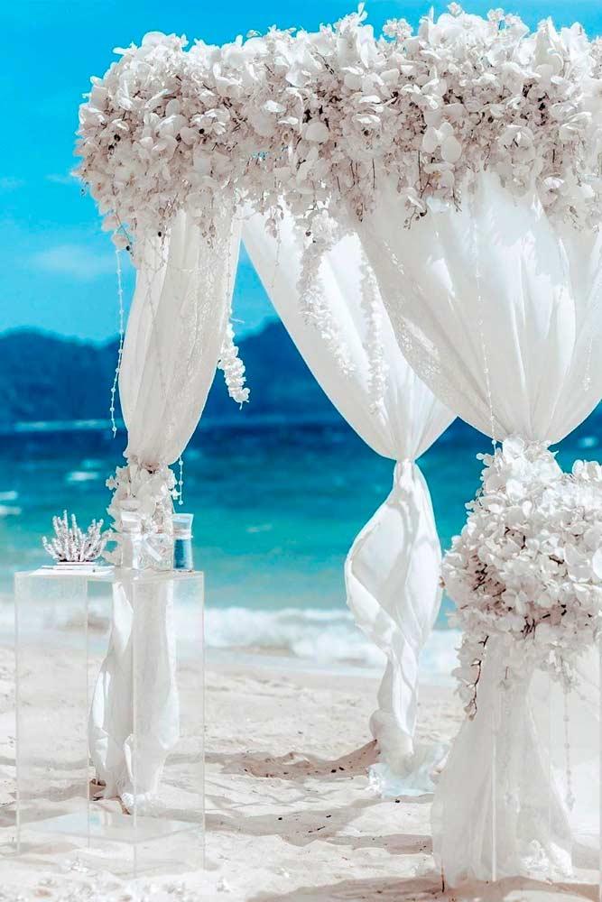 Variations Of White Ceremony Altar #weddingarch #weddingaltar