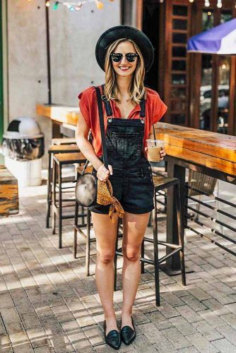 Black Overalls Outfits With Accented Red Blouse #blackoveralls #blackhat