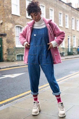 Liberty Overalls With Turtleneck And Pink Accented Coat #pinkcoat #libertyoveralls