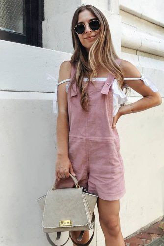 Pink Short Overalls With Off Shoulder Top #pinkoveralls
