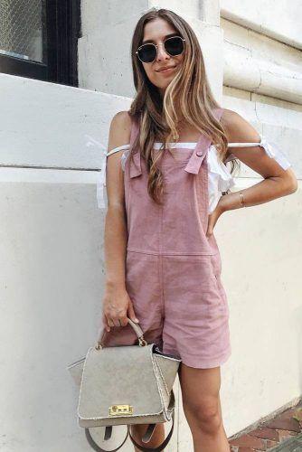 Pink Short Overalls With Off Shoulder Top #pinkoveralls
