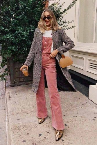 Pink Overalls With Plaid Coat #plaidcoat #pinkoveralls