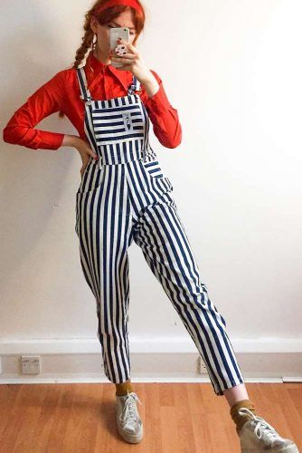 Striped Overalls With Red Shirt #stripedoveralls