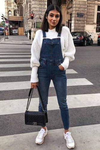 Jeans Overalls With Sweater #whitesweater