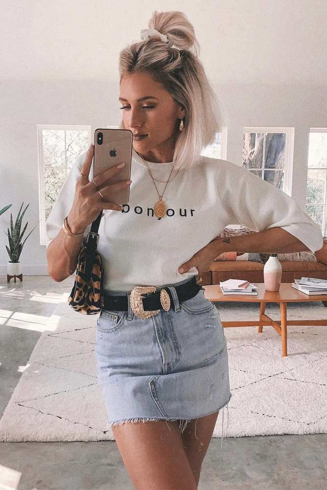 Denim Skirt 90s Style Trend #denimskirt