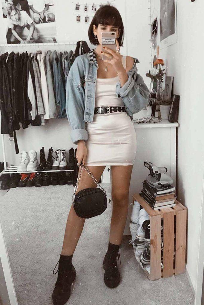 Small Bodycon Dress With Denim Jacket