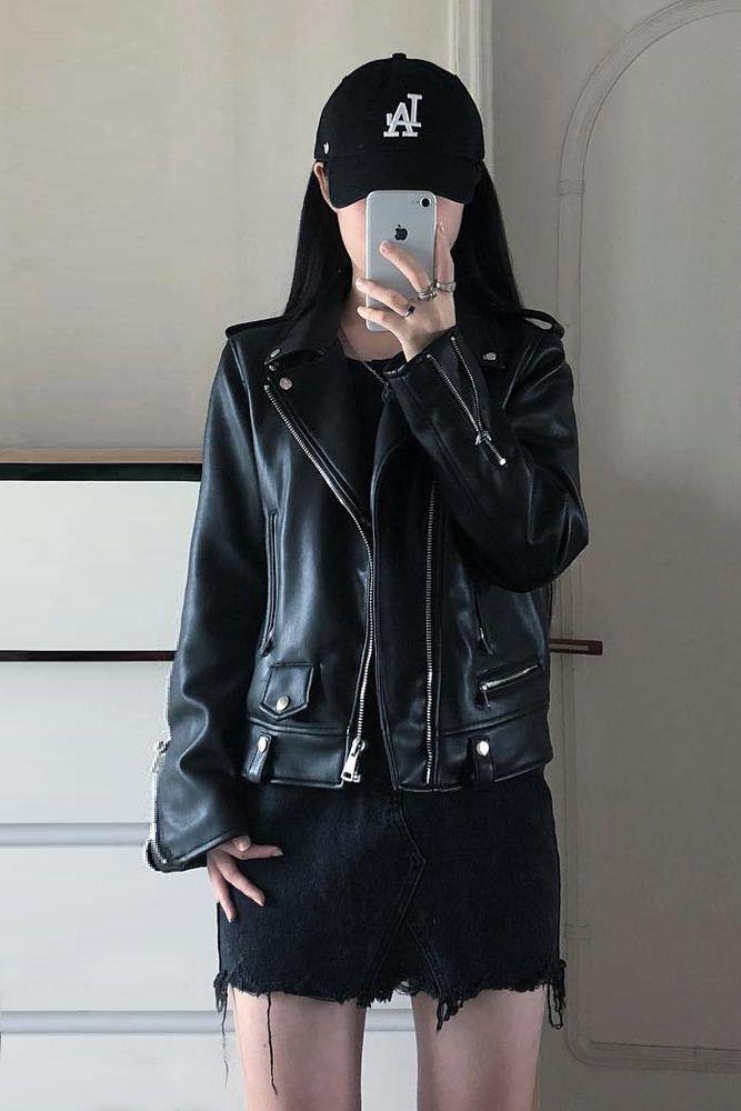 Black Leather Jacket With Black Ripped Shorts #leatherjacket