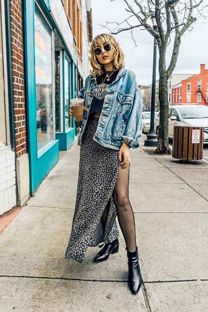 Long Maxi Skirt, Printed Top And Denim Jacket #denimjacket #maxiskirt