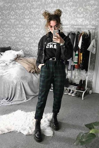 Plaid Pants With Denim Jacket #plaidpants #denimjacket