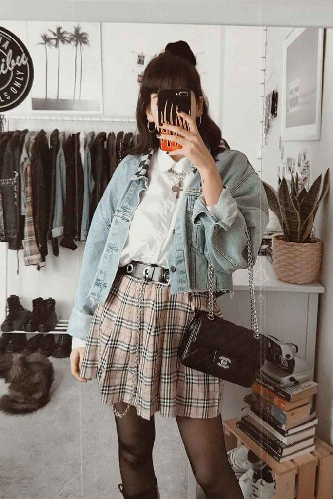 Plaid Mini Skirt With Denim Jacket