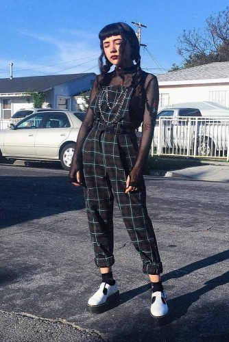 Plaid Overalls With Transparent Mesh Long Sleeve Top #plaidoveralls #overalls