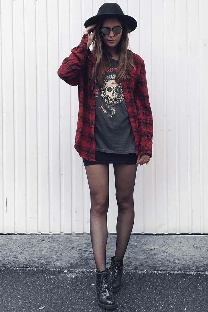 Plaid Shirt And Hat #plaidshirt #womenshirt