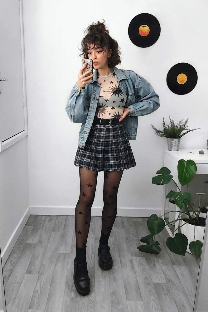 Short Plaid Skirt With Denim Jacket #plaidskirt