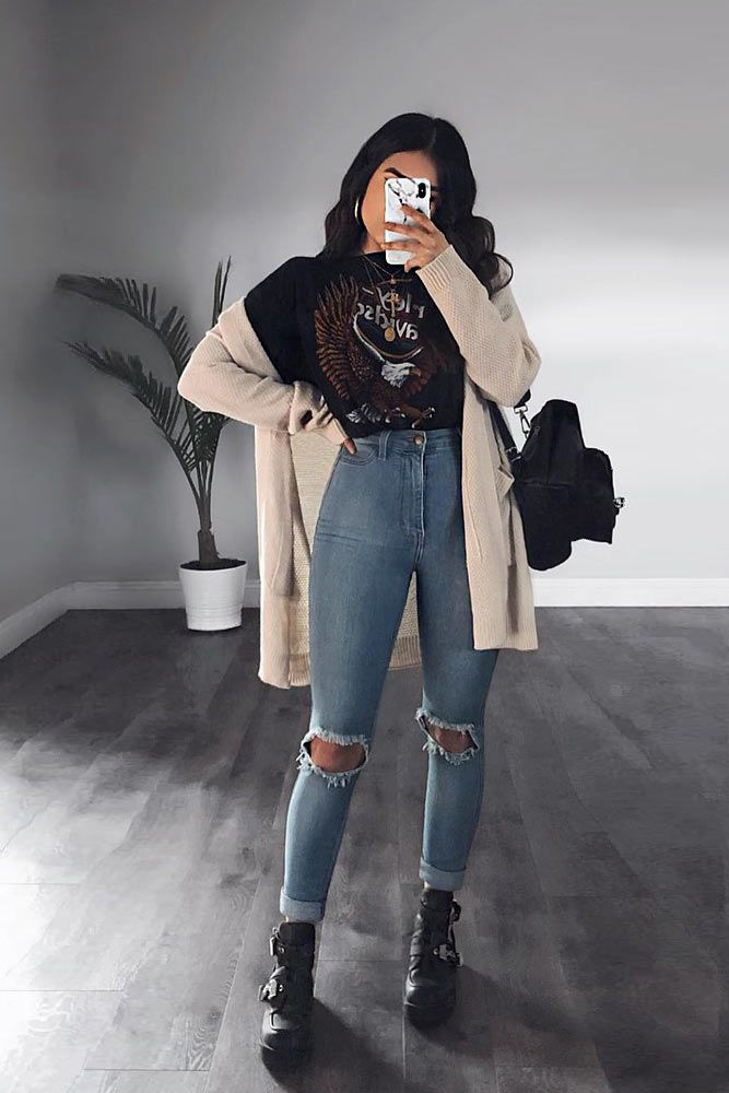 Ripped Jeans With Long Cardigan #longcardigan #rippedjeans