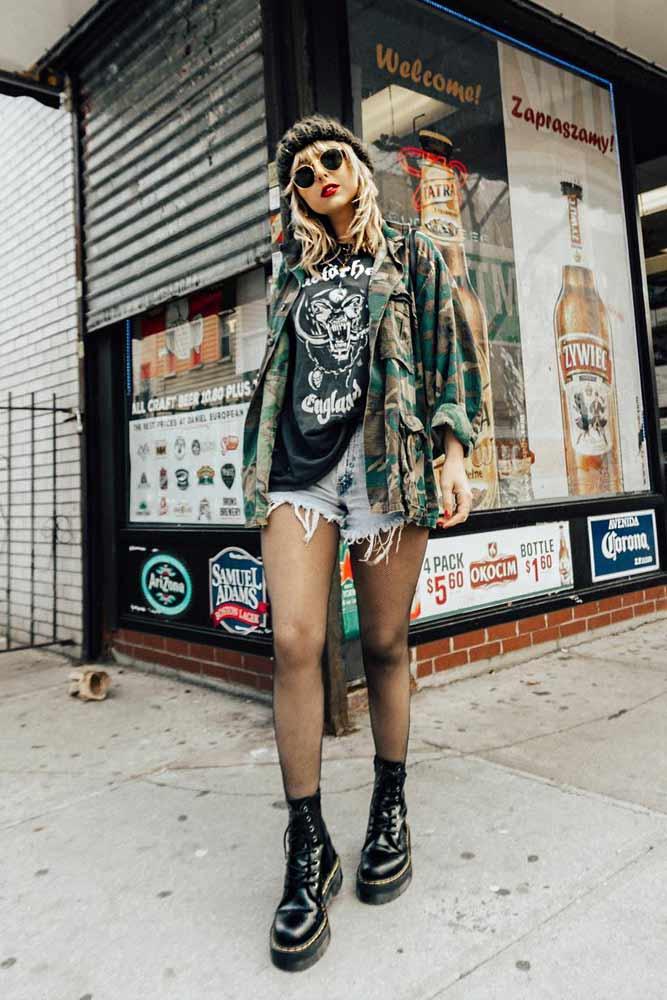 Grunge Look With Military Jacket #militaryjacket #womensmilitaryjacket