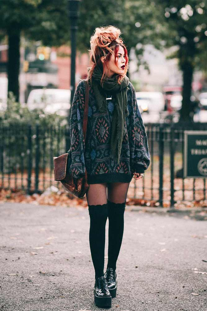 Sweater Dress With Stockings #stockings #sweaterdress