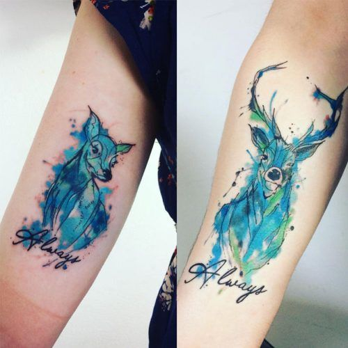 Patronus Tattoo Idea For Couple #patronustattoo #deertattoo