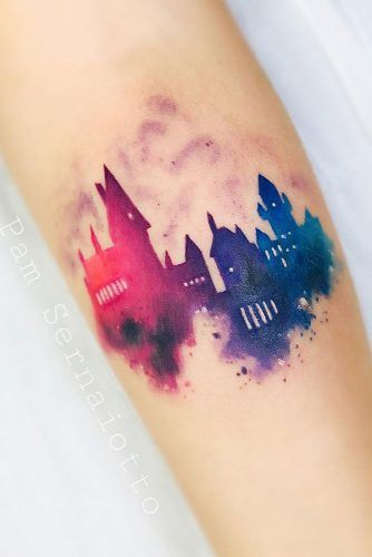 Watercolor Hogwarts School Design #hogwarts #hogwartstattoo #watercolortattoo