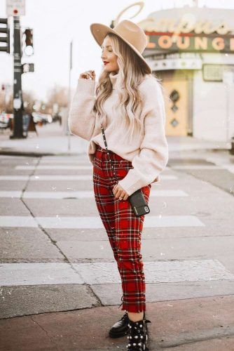 Red Plaid Pants With Beige Oversize Sweater #redpants #oversizesweater
