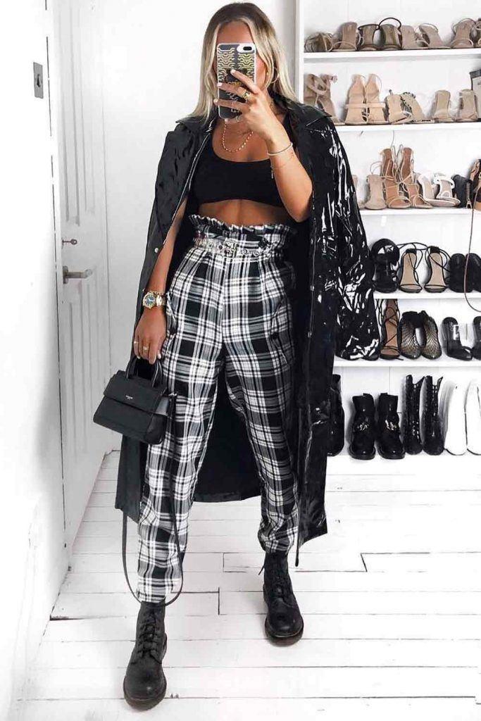 Plaid Pants With Black Vinyl Coat #blackcoat