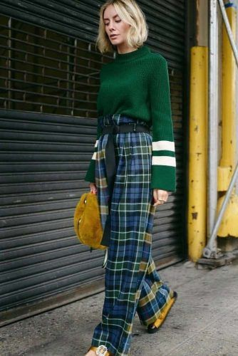 Blue Pants With Green Sweater Outfit #greensweater