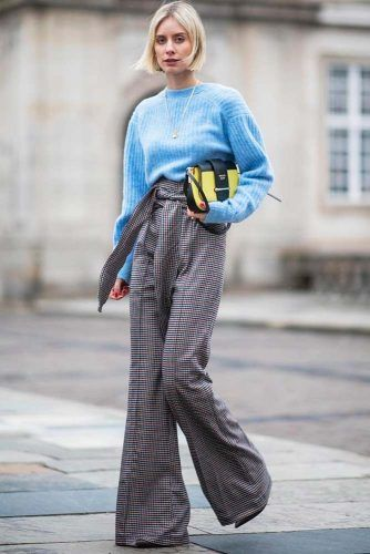 High Waisted Wide Leg Pants With Blue Sweater #widelegpants #bluesweater