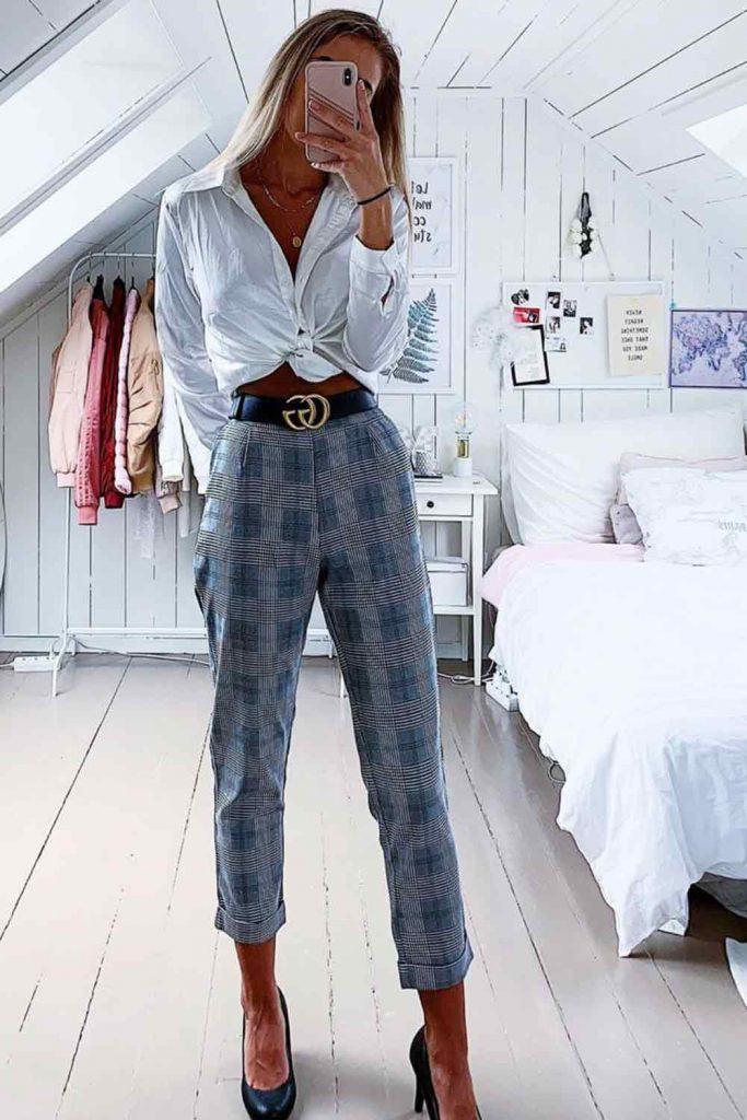Gray Plaid Pants With White Blouse #whiteblouse