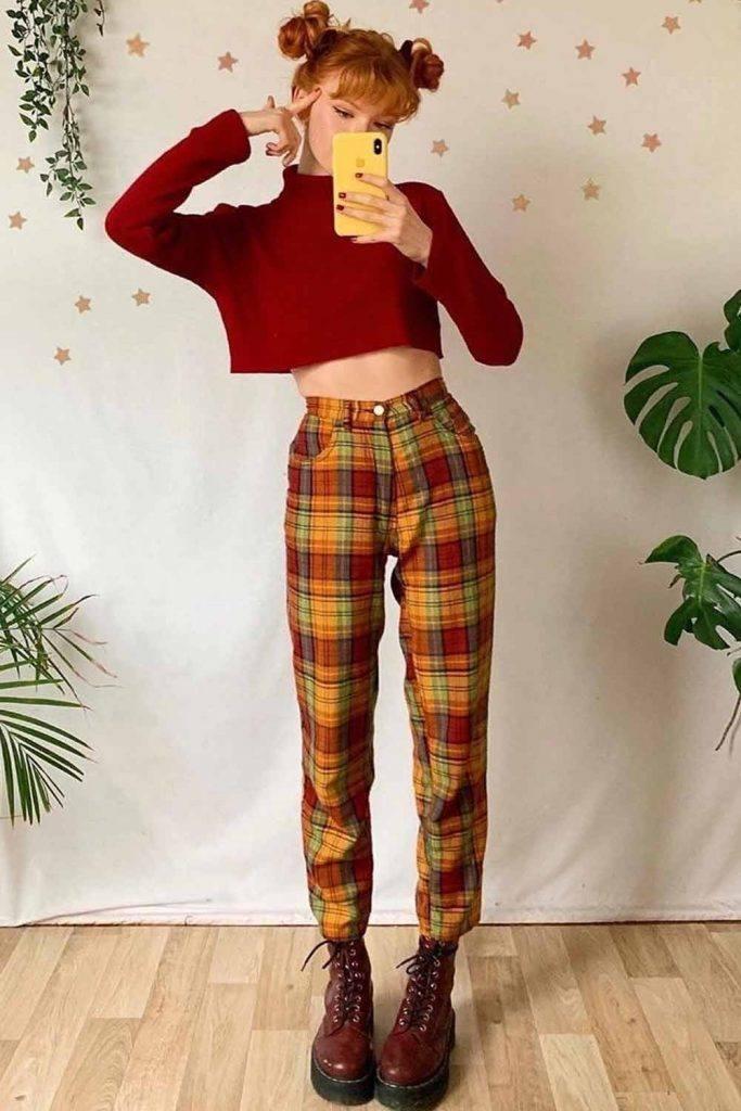 Red Crop Top With Plaid Pants #croptop