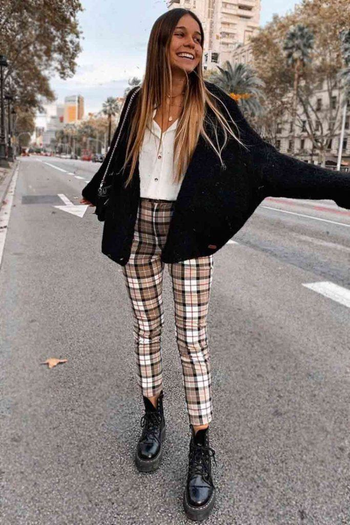 Plaid Pants With Black Cardigan #cardigan #whiteblouse