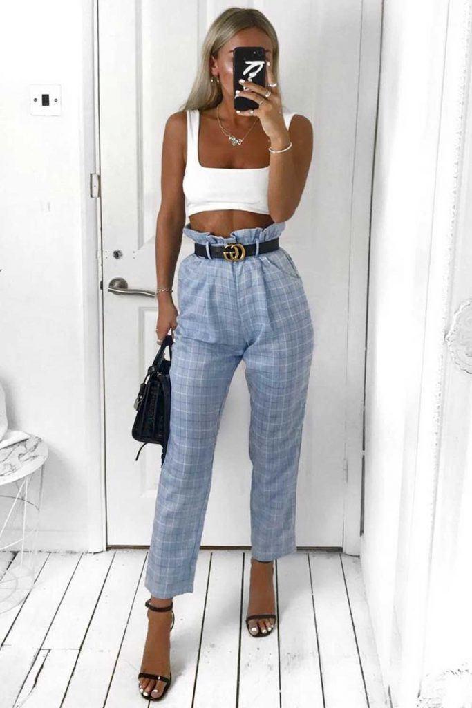 White Top With Blue Plaid Pants #bluepants