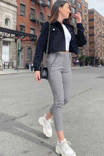 Crop Plaid Pants With Black Velvet Jacket #velvetjacket