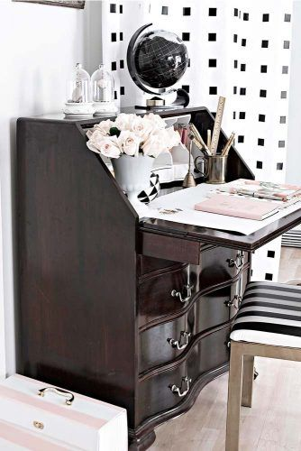 Black Secretary Desk With Drawers For Smart Work Space #monochromaticdecor #classicstyle