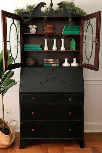 Black Classic Secretary Desk With Hutch #blacksecretarydesk
