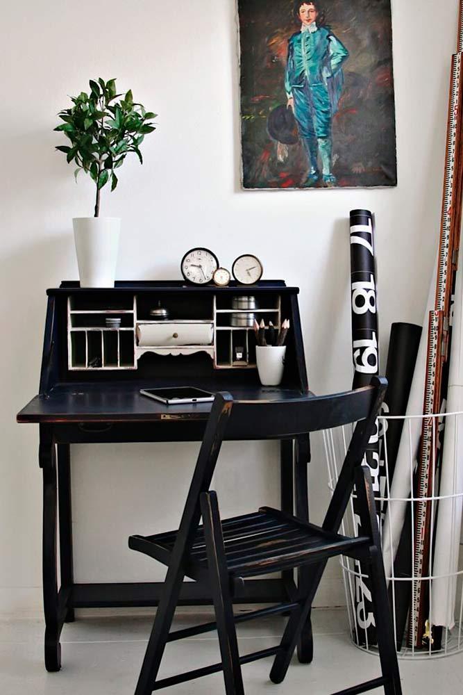 Small Classic Black Secretary Desk #studyspace #smallsecretarydesk