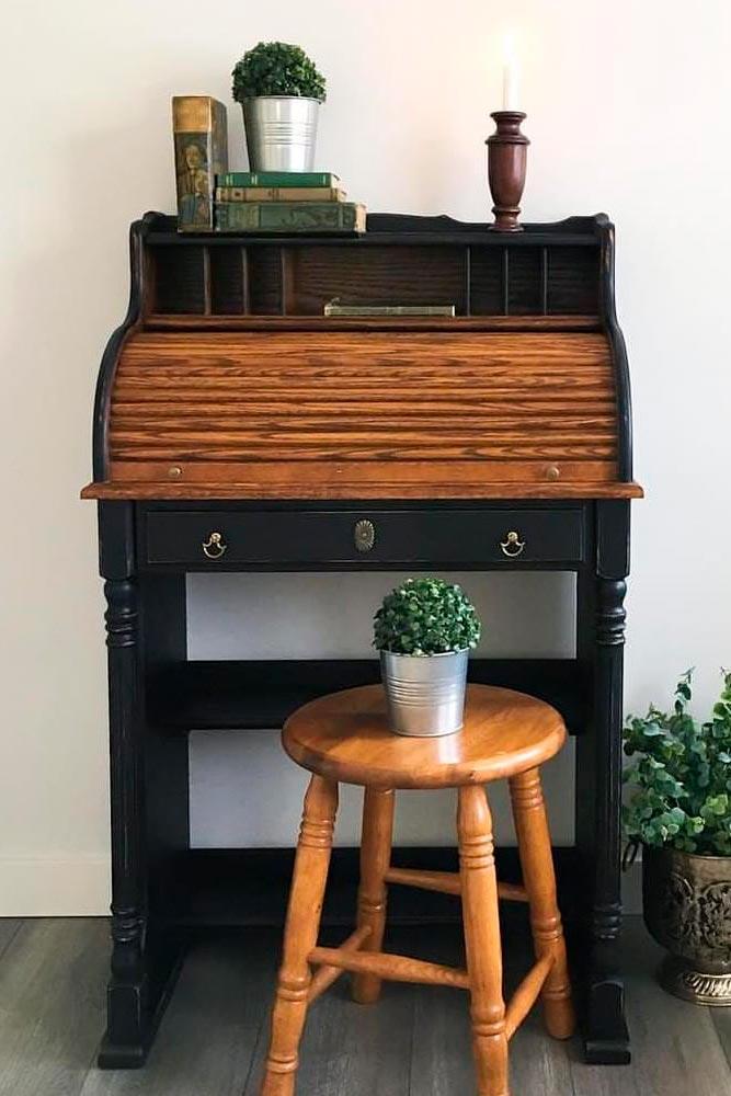 Small Natural Wood Secretary Desk #retrodecor #woodsecretarydesk