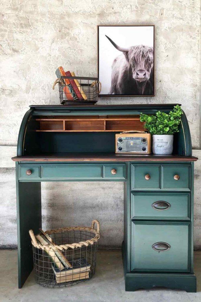 Blue Secretary Desk #bluesecretarydesk