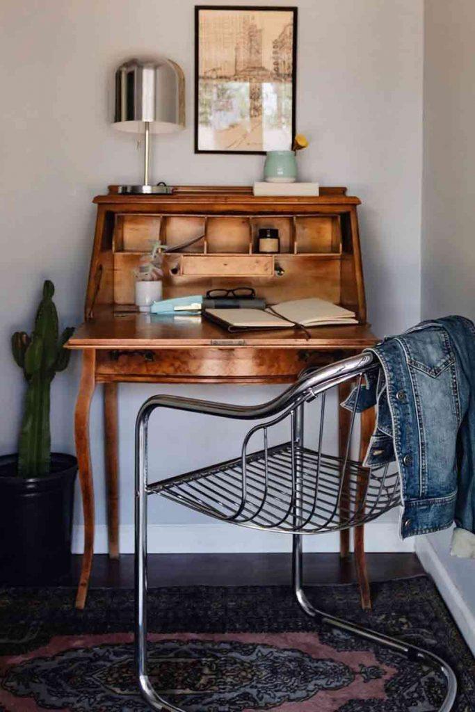 Vintage Secretary desk With Metallic Chair Set #vintagefurniture