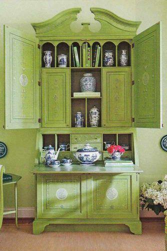 Green Antique Secretary Desk #antique #antiquefurniture