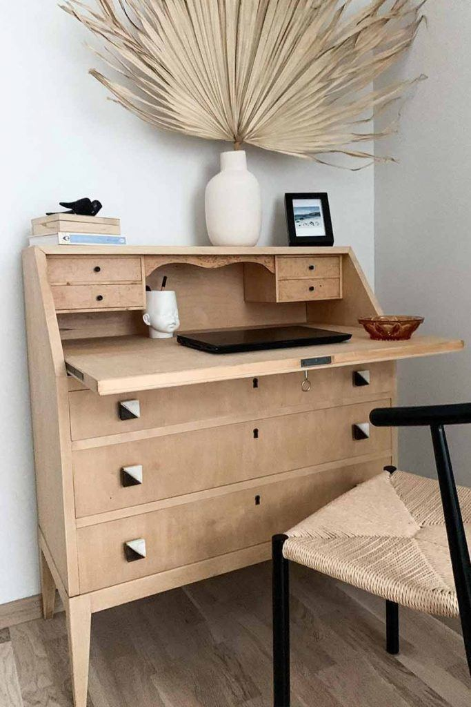Modern Wooden Secretary Desk With Drawers #naturalwooden