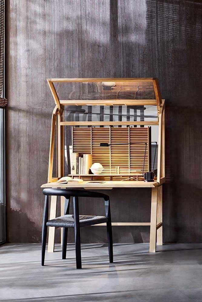 Modern Wood And Glass Secretary Desk #woodsecretarydesk #modernfurniture