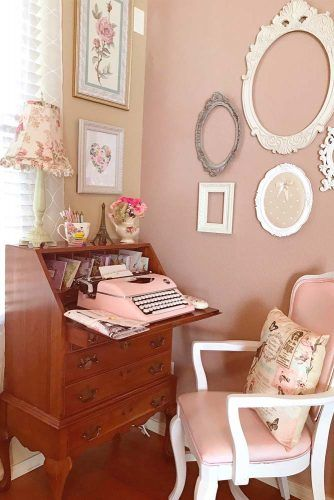Wood Classic Secretary Desk For Girl Room Decor #girlroom #workspace