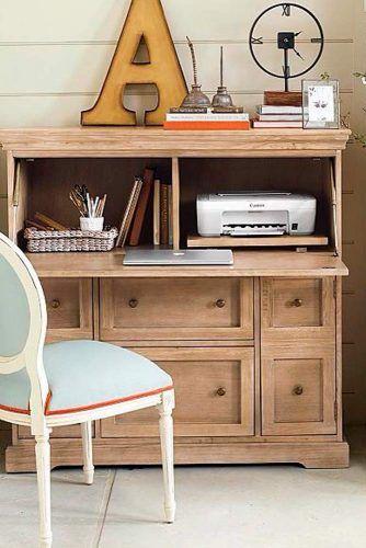 Wood Classic Secretary Desk For Girl Room Decor
