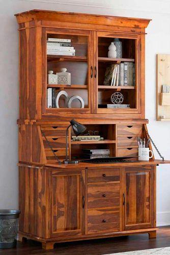 Wood Classic Secretary Desk With Hutch #woodsecretarydesk