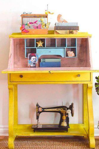 Retro Yellow Painted Secretary Desk #yellowsecretarydesk #smallsecretarydesk