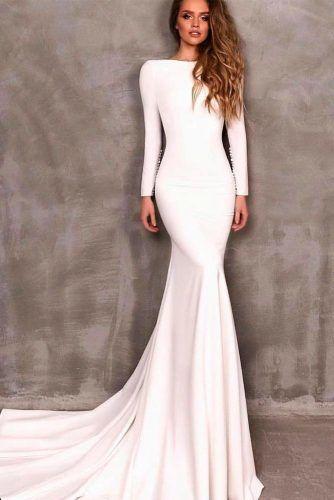 Simple Wedding Dress With Long Sleeves #weddingdresses #elegantweddingdress