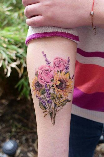 Flower Bouquet With Sunflowers #bouqettattoo #floraltattoo
