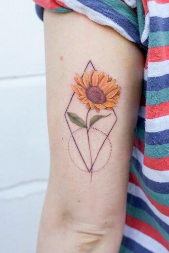 Sunflower Tattoo Design With Geometric Elements #geometrictattoo