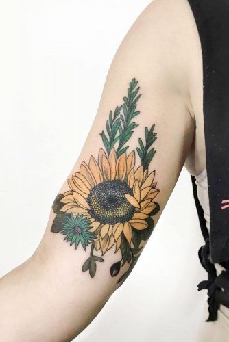 Big Sunflower Tattoo For Arm #armtattoo